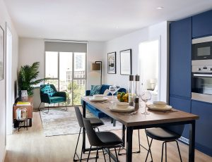 Render depicting an example kitchen at Affinity Living Riverview, including a floor-to-ceiling window and open-plan kitchen with dining table