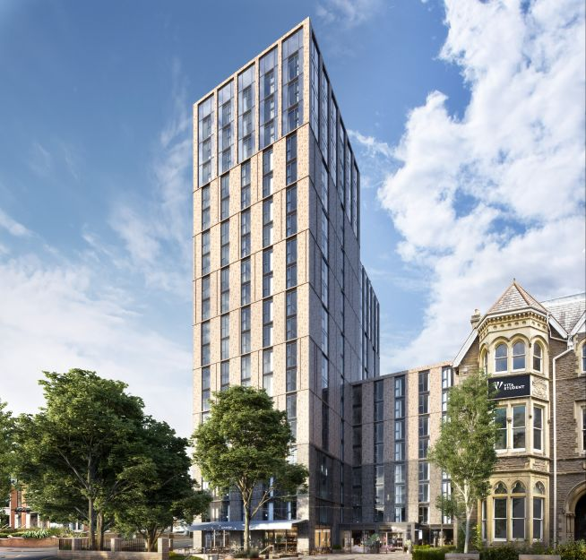 Render of the proposed exterior for Vita Student Cardiff, building due for completion Q3 2021