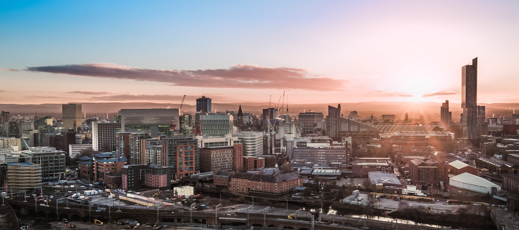 Sunset aerial view of Manchester city centre