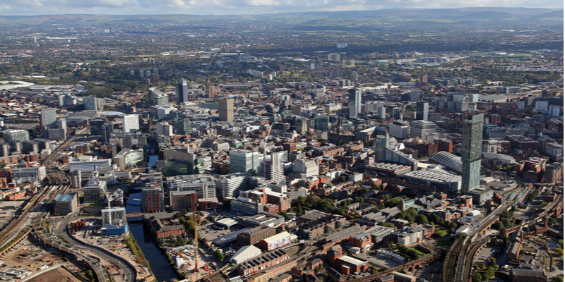 A shot from above Manchester city centre