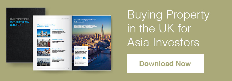 A banner featuring Select Property Group's guide 'Buying Property in the UK for Asia Investors'. The image shows the front cover of the guide and a 'download now' icon.