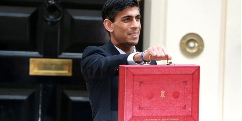 UK Chancellor of the Exchequer, Rishi Sunak, holding up the red brief case in front of 10 Downing Street in the traditional photo opp that takes place before he announces his Budget speech